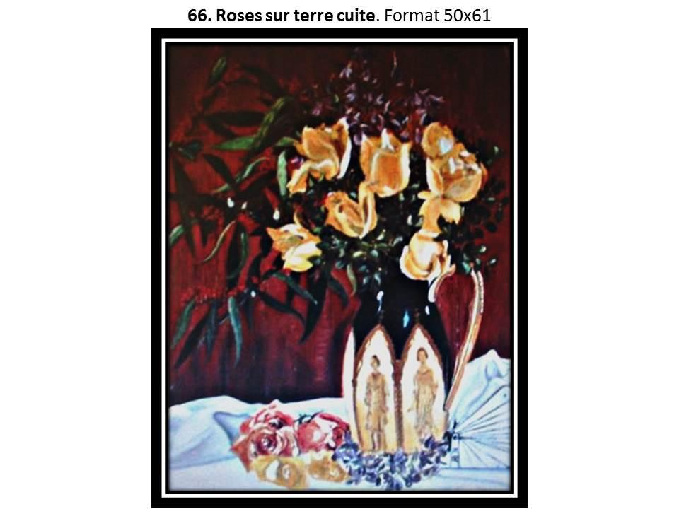 66 roses sur terre cuite
